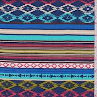 Royal Multi Aztec Stripe Rayon Challis