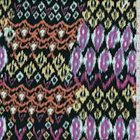 Black Multi Ikat Stripe Rayon Challis