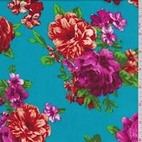 Dark Turquoise Floral Rayon Challis