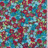 Aqua/Red Mini Floral Rayon Challis