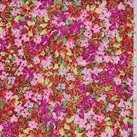 Orange/Pink Mini Floral Rayon Challis