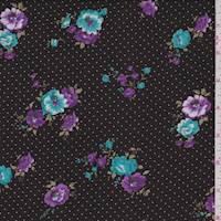 Black/Purple Pin Dot Floral Rayon Challis