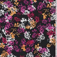 Black/Yellow Daisy Rayon Challis