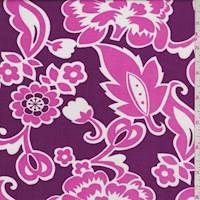 Magenta/Pink Stylized Floral Rayon Challis