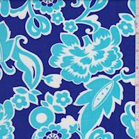 Cobalt/Turquoise Stylized Floral Rayon Challis