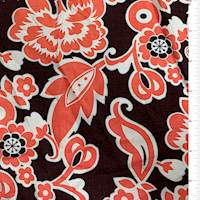Maroon/Coral Stylized Floral Rayon Challis