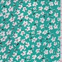Aquamarine Floral Rayon Challis