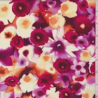 Ruby Daffodil Floral Rayon Challis