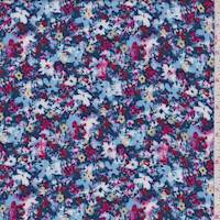 Coventry Blue Mottled Mini Floral Rayon Challis