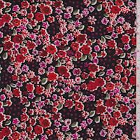 Black/Crimson Floral Lattice Rayon Challis