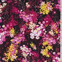 Black/Hot Pink Floral Rayon Challis