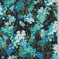 Black/Teal Floral Rayon Challis