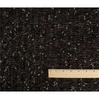 *1 5/8 YD PC--Black/Brown/Sage Wool Blend Sweater Rib Knit