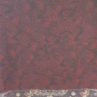 *1 PANEL--Cranberry/Black Floral Silk Georgette