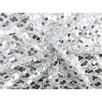 *3 YD PC--Silver/White Scallop Sequin Mesh