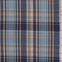 *3 1/4 YD PC--Navy/Powder/Peach Plaid Cotton