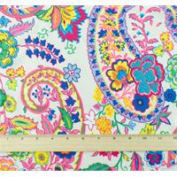 *2 YD PC--White/Multi Floral Print Momie Crepe