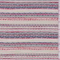 *2 3/8 YD PC--Beige/Navy Multi Woven Polyester