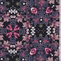 *1 7/8 YD PC--Black Multi Lily Floral Rayon Challis