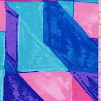 *1 YD PC--Pink/Aquamarine/Aqua Color Block Rayon Jersey Knit