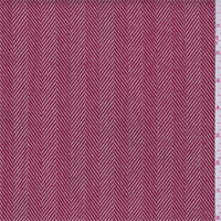 *3/4 YD PC--Red/Ecru Herringbone Stripe Suiting