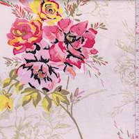 White/Pink/Sage Floral Sateen