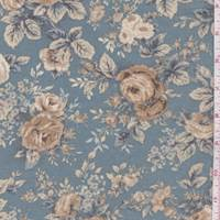 Jade Blue Floral Print Decor Fabric
