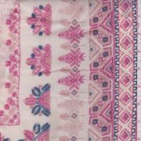 Peach Aztec Stripe Rayon Lawn