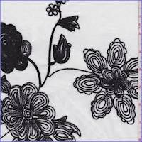 *4 1/4 YD PC--White/Black Embroidered Bold Floral Lawn