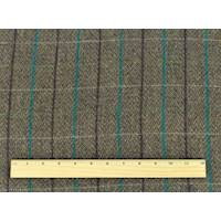*1 YD PC--Brown/Teal/Multi Brush Wool Plaid Coating
