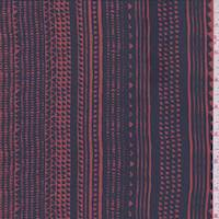 *3 5/8 YD PC--Persimmon/Navy Tribal Stripe Silk Crepe de Chine