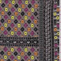 *1 5/8 YD PC--Black/Taupe Embroidered Chiffon