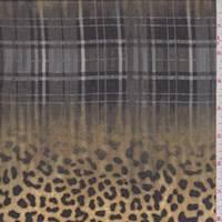 *3 1/4 YD PC--Camel/Charcoal Cheetah Plaid Georgette