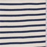 *1 3/8 YD PC--Ecru/Navy Stripe Jersey Knit