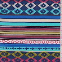 *1 YD PC--Royal Multi Aztec Stripe Rayon Challis