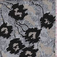 *1 PANEL--Silver/Black Floral Jacquard