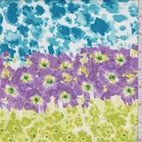 Aqua/Lime/Lilac Floral Stripe Cotton