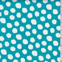 Aqua Green Dot Stretch Sateen