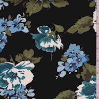 Black/Teal Floral Bouquet Sateen