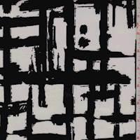 Cream/Black Crosshatch Print Sateen
