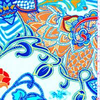Ivory/Orange Multi Stylized Floral Liverpool Knit