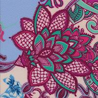 Ivory/Cranberry Multi Stylized Floral Liverpool Knit