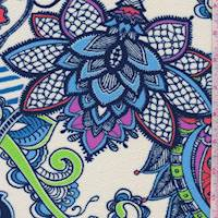 Ivory/Turquoise Multi Stylized Floral Liverpool Knit