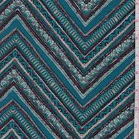 Teal/Maroon Deco Chevron Liverpool Knit