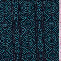 Aqua/Black Aztec Stripe Liverpool Knit