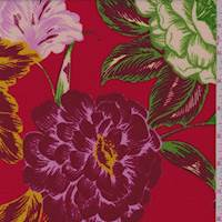 Fire Red/Cranberry Bold Floral Liverpool Knit