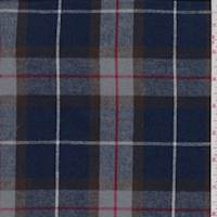 Deep Blue/Dove Plaid Flannel