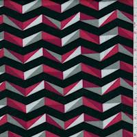 Black/Magenta/Steel Chevron Jersey Knit