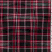 Black/Garnet Plaid Flannel Suiting