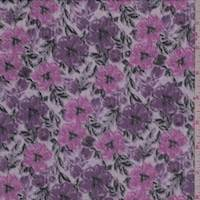 Purple/Orchid Pink Floral Crinkled Chiffon